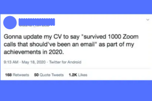 Tweet showing frustration with remote meetings
